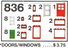 Lego 836 Doors and Windows Parts Pack