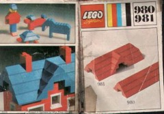 Lego 981 34 sloping profile bricks, including profile peak bricks, Blue