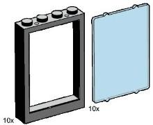 Lego B001 1x4x5 Black Window Frames, Transparent Blue Panes