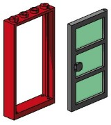 Lego B003 1x4x6 Red Door and Frames, Transparent Green Panes