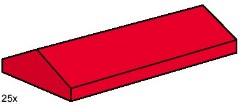Lego B005 2 x 4 Ridge Roof Tiles, Low Sloped Red